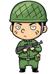 Vector illustration of Cartoon Soldier