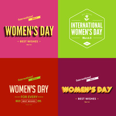 International Women's day 8 March Typography Poster templates