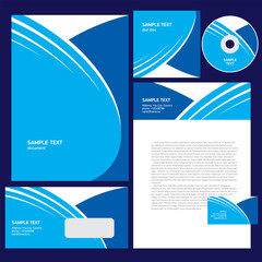 corporate identity template geometric abstract curves blue color