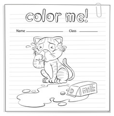 A coloring worksheet with a cat