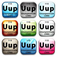 A button showing the element Ununpentium