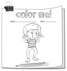 A worksheet with a young boy