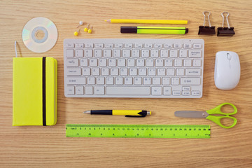 Office desk template with keyboard and office items