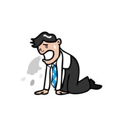 Businessman vomtting