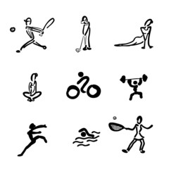 Sport drawing icons