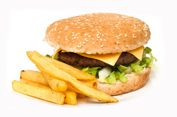 hamburger frites sur fond blanc