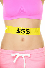 Expensive diet - money and nutrition concept