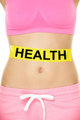 Health warning on stomach body - diet concept