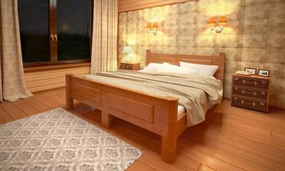 Ночной рендер спальни
