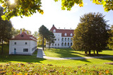 Lithuanian historical medieval castle Birzai in autumn