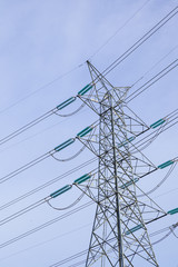 High voltage electicity post with sky