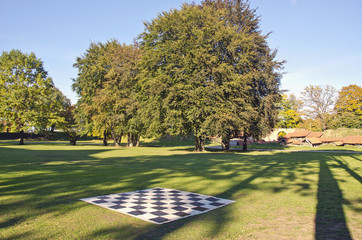 big outdoor empty chess board in autumn park