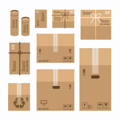 paper boxes set product package mockup design,vector