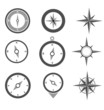 Navigation Compasses Icons set