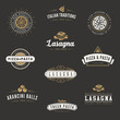 Italian cuisine Retro Vintage Labels Logo design Hipster - 78563898