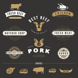 Grill BBQ Cow PIG Retro Vintage Labels Logo Hipster - 78563897