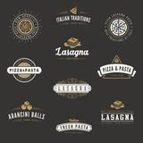 Italian cuisine Retro Vintage Labels Logo design Hipster