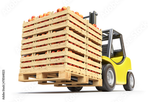Forklift with red apples in wooden crates - 78564023