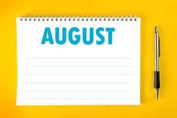 August Calendar Blank Page