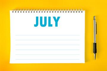 July Calendar Blank Page