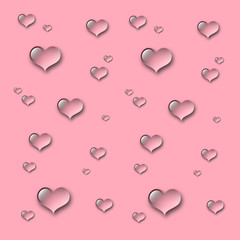 Heart water drops background - pink