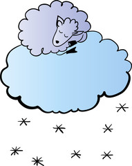 Sheep on the cloud vector illustration