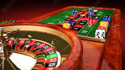 Leinwanddruck Bild Casino Roulette Table
