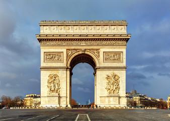 Arch of Triumph (Arc de Triomphe) with dramatic sky, Paris, Fran