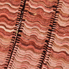 stack of red roof tiles