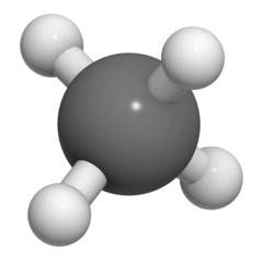 Methane (CH4) gas molecule, chemical structure.