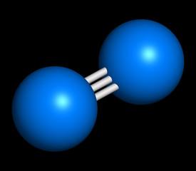 Elemental nitrogen (N2) molecule.