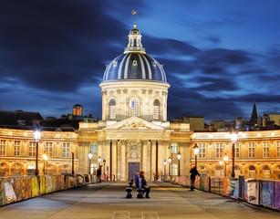 French Institute (Institute de France) at night, Paris