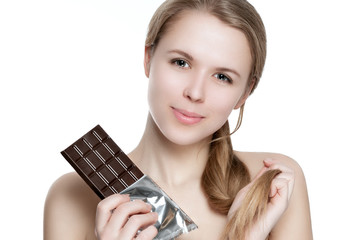 Girl with chocolate.