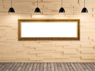 exhibition photo gallery picture frame on wood wall background a