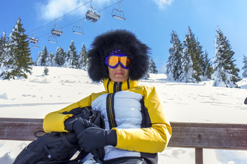 Woman on the ski vacation