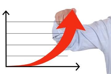 Businessman beim zeigen auf ein erfolgreich Business Analyse Wac
