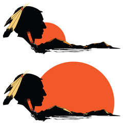 Vector indian silhouette on background of mountains and rising s