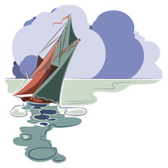 Stock vector. Boat on the high seas on a background of clouds.