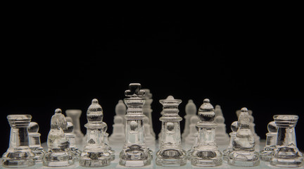 Glass chess game, shallow depth of field