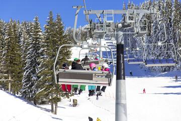 Family on the ski lift