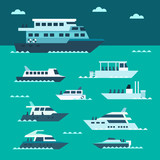 Flat design of boat set