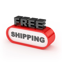 Free Shipping Sign On White Background