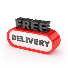 Free Delivery Sign On White Background