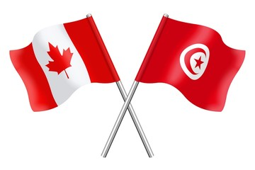 Flags: Canada and Tunisia