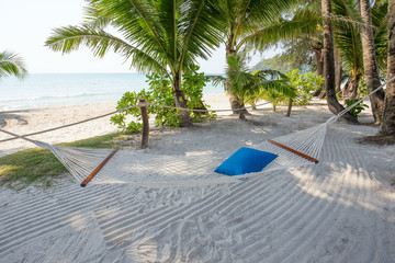 Tropical beautiful beach and hammock , Thailand