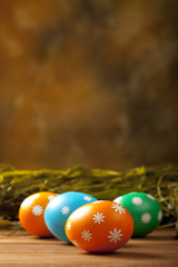 Easter eggs and blank space for text
