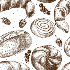 Beautiful pattern with fresh pastries.