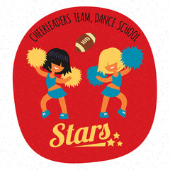 cheerleader girls team, dancing with poms