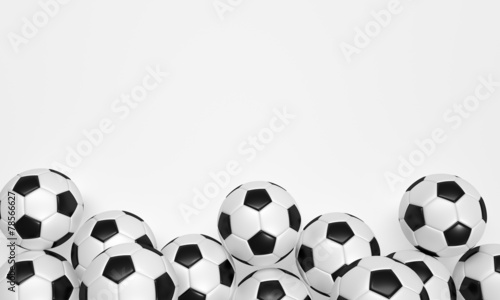 canvas print picture Soccer Balls on the white Background