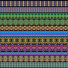set of ornamental strips of colored geometric ornament